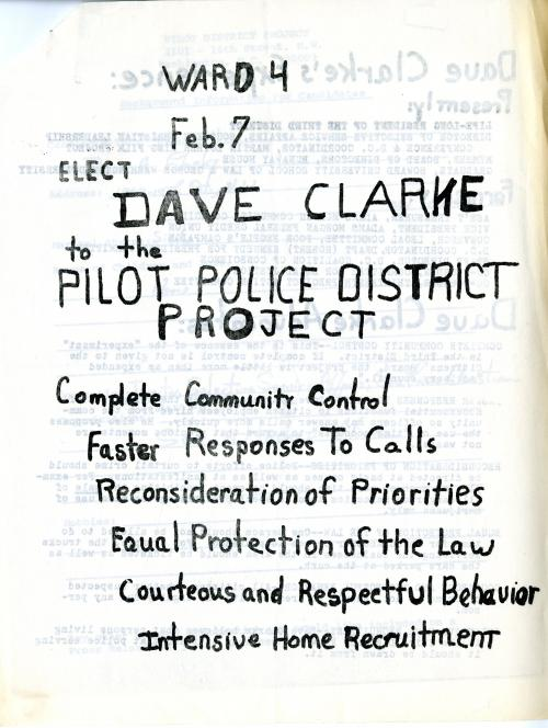 Campaign flyer (Dave Clarke), PDP Citizens Board, 1970