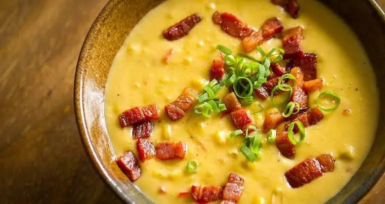 receita de creme de milho com bacon