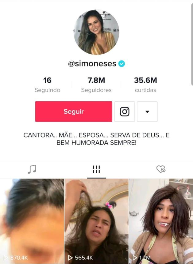 Perfil de Simone da dupla simone e simaria, foto dela em destaque como perfil e últimos três vídeos publicados