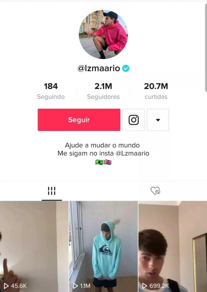 Perfil de Mario Junior, com a foto dele vestindo uma jaqueta rosa de perfil, seus últimos 3 vídeos