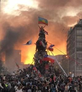 Imagem dos protestos de 2019 em Santiago do Chile