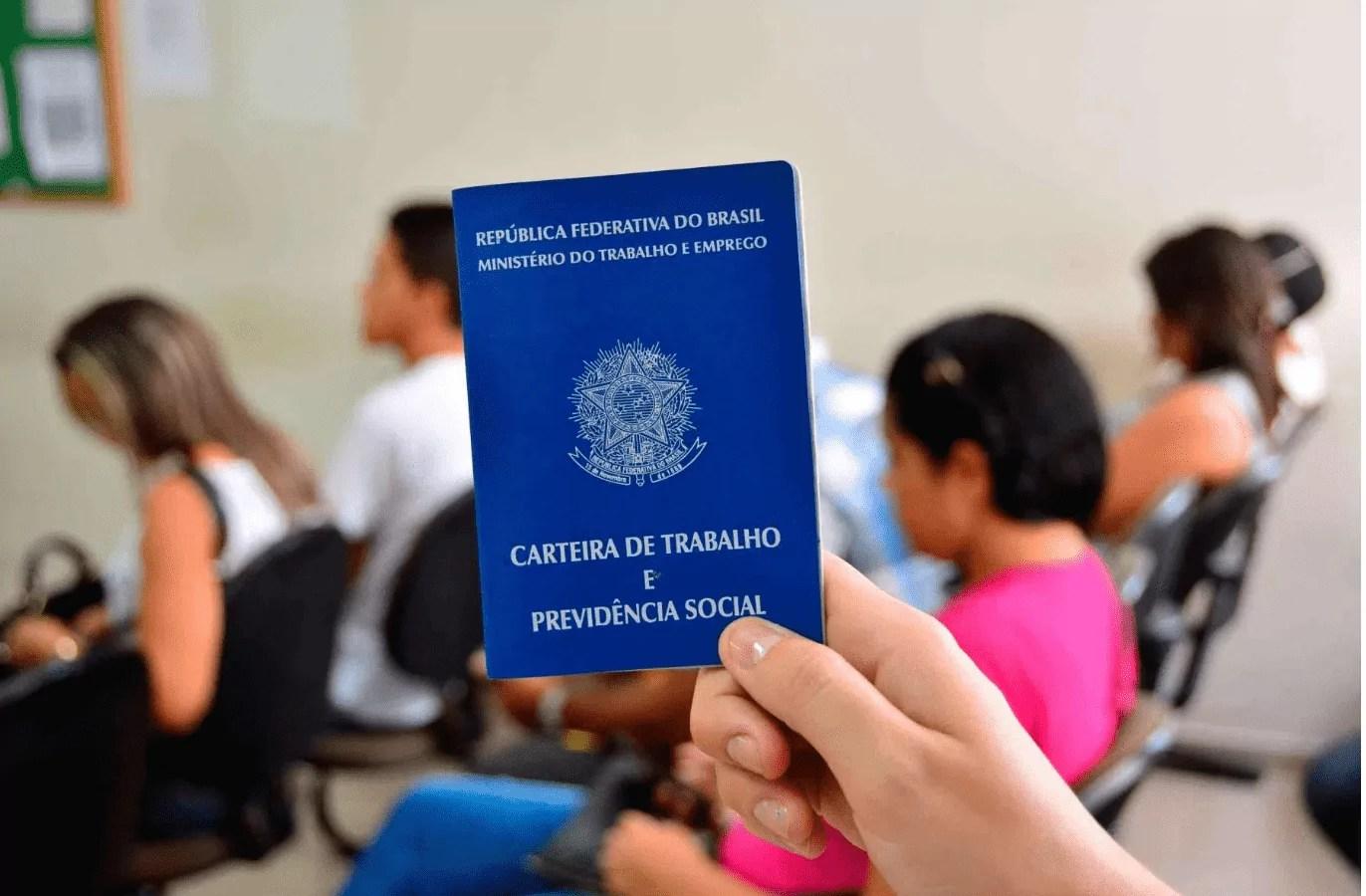 Foto de uma mão segurando uma carteira de trabalho.