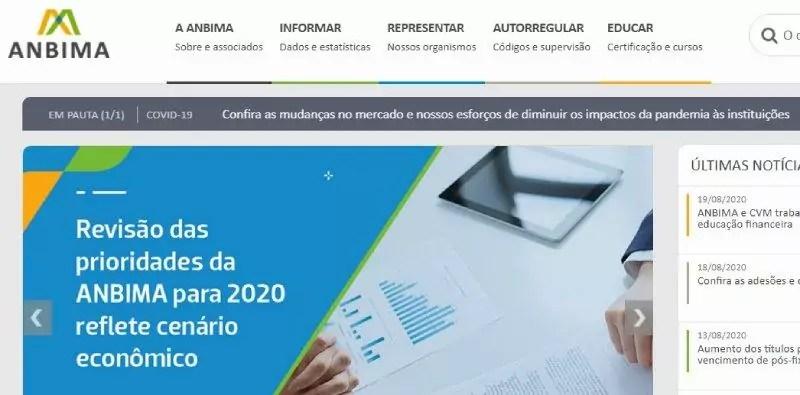 homepage da anbima, associação dos mercados de capitais