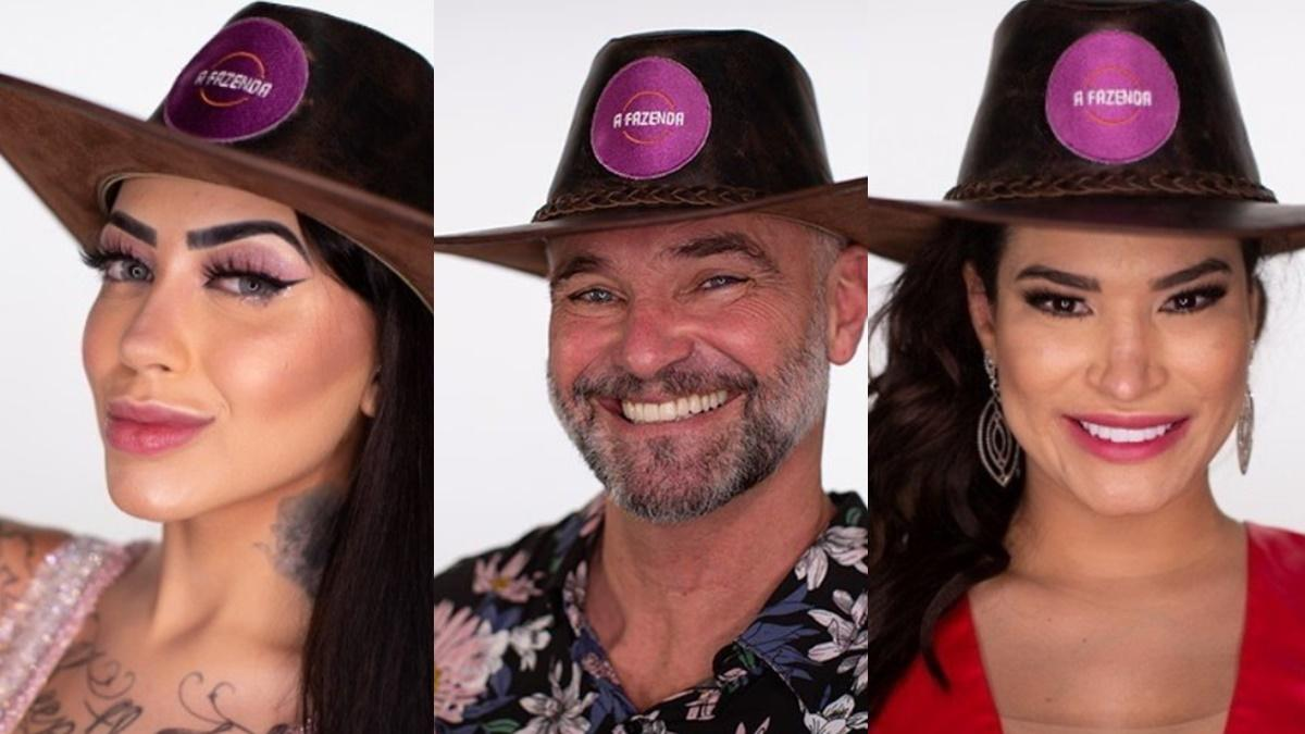 MC Mirella, Mateus Carrieri e Raissa Barbosa em A Fazenda 2020