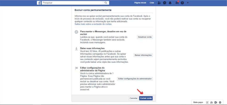 Passo a passo para deletar Facebook