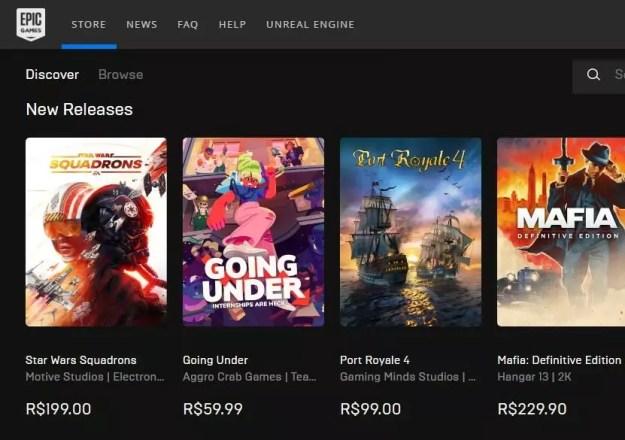 loja de jogos da Epica games, dona do Fortnite