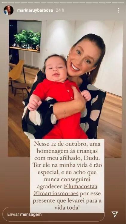 Marina Ruy Barbosa publica foto com afilhado