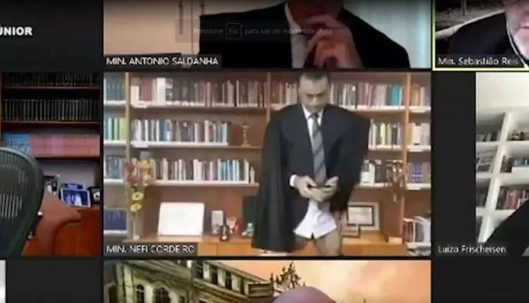 Ministro Néfi Cordeiro é flagrado sem calças em transmissão de sessão do STJ. Foto: reprodução