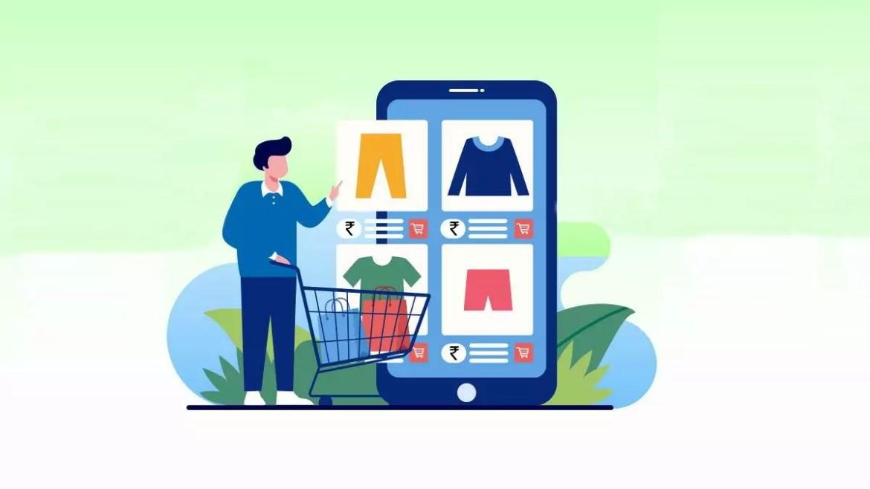 celular com aplicativo de compras gigante, ao lado de pessoa com carrinho de compras