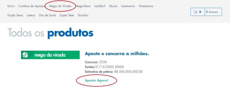 """mostra um circulo destacando em vermelho no menu do site da Caixa """"Mega da Virada"""" e outro destacando """"Aposte Já"""""""