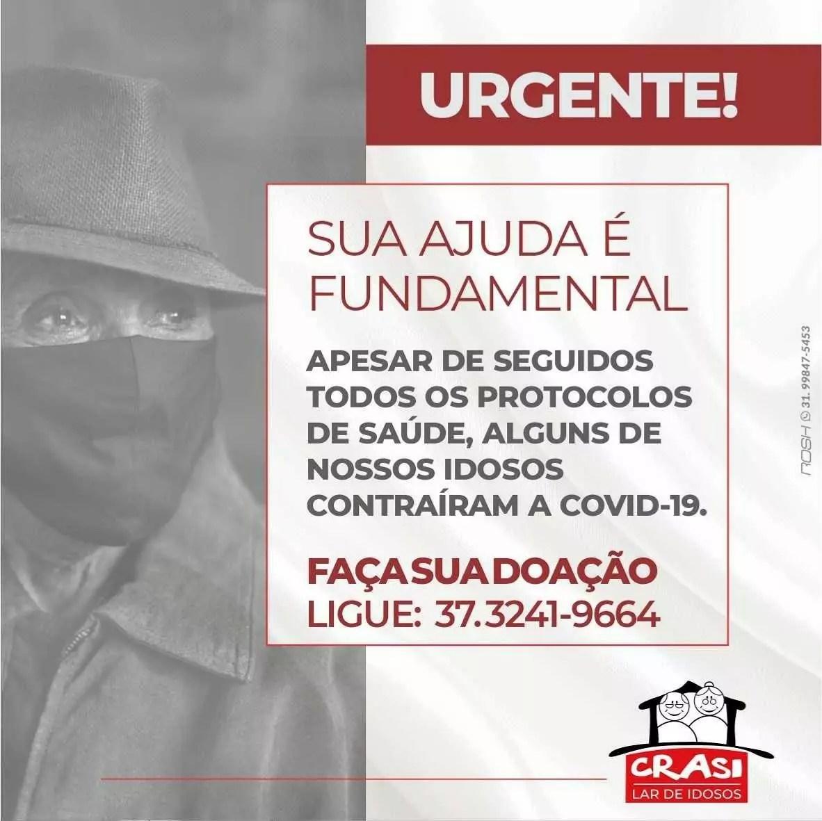 Imagem de divulgação mostra pedido de ajuda ar de idosos em interior de Minas tem surto de Covid
