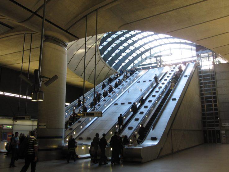 Escalators at Canary Wharf station on the London Underground