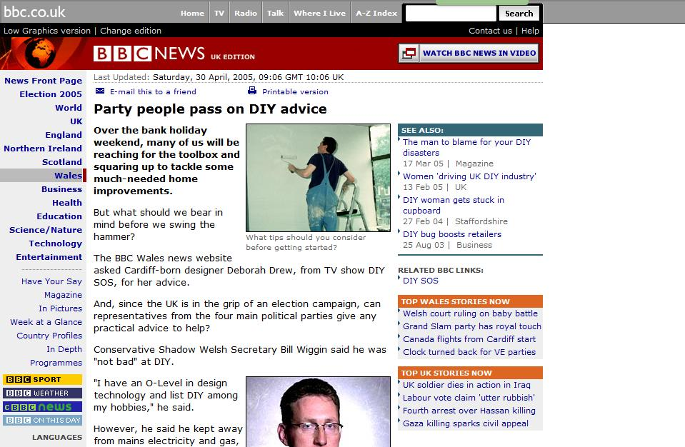 BBC News - 30/04/05: Bank holiday DIY advice