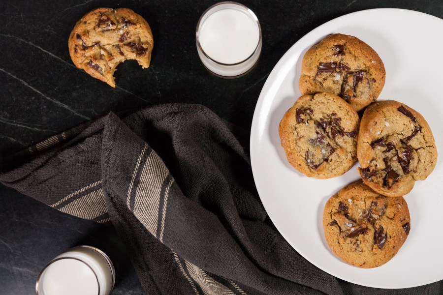 Salted Dark Chocolate Chip Cookies and Milk