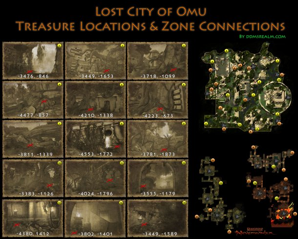 Neverwinter Lost City of Omu Area Map of Treasures Locations and Zone Connections