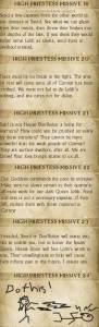 Sschindylryn High Priestess Missives 13 through 18