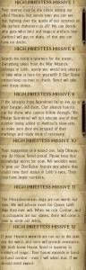 Sschindylryn High Priestess Missives 7 through 12