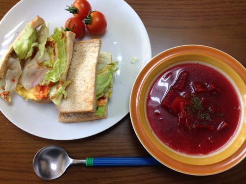 th_玉子チーズ、ビーツスープセット