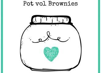 Etiket voor op pot vol brownies, voorkant