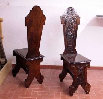 Neoclassical couple old chairs restoration