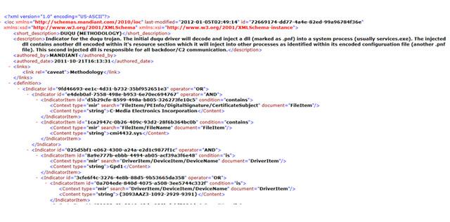 Imagen 2. Extracto de un fichero XML empleando OpenIoC para la identificación del malware Duqu