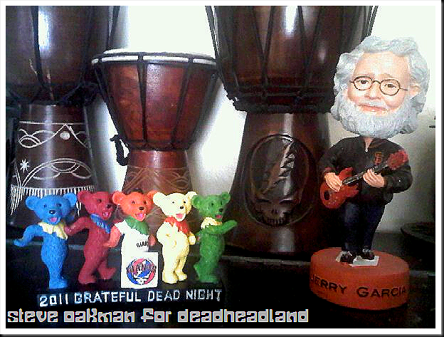 Danicng Bears shown next to last years Jerry Garcia Bobblehead - grateful dead night 2011