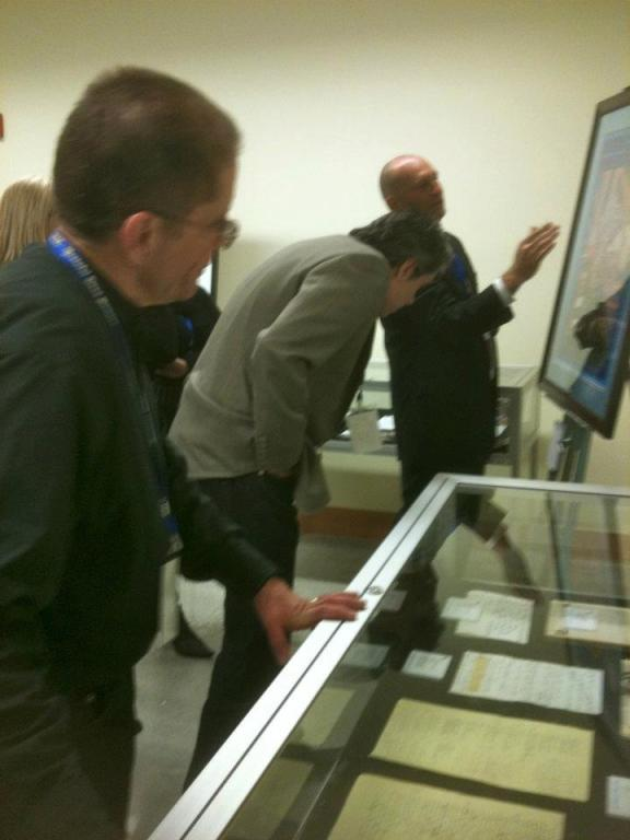 Checking out the exhibits at the Grateful Dead Archive preview event