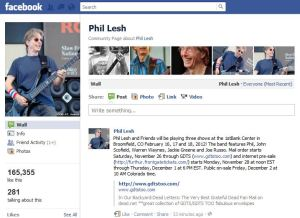 Concert announced on Phil Lesh's Facebook Page