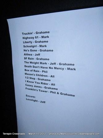 Terrapin Crossroads Setlist 3.10.2012
