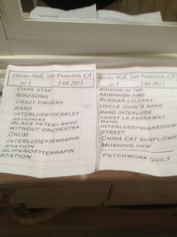 Setlist Warren Haynes and the SF Symphony - thanks to Arthur Levitt, Cosmic Artiste for the picture!