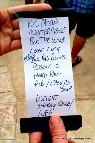 Bob Weir solo at the beach in Mexico setlist, given to Dawn Murray by AJ