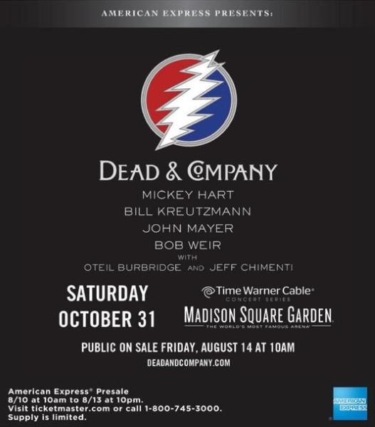 MORE DEAD SHOWS DEPT: DEAD & COMPANY – Grateful Dead's Mickey Hart, Bill Kreutzmann, Bob Weir plan Halloween at aAdison Square Garden with John Mayer, Jeff Chimenti Oteil Burbridge