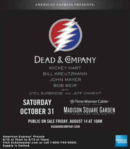 MORE DEAD SHOWS DEPT: DEAD & COMPANY – Grateful Dead's Mickey Hart, Bill Kreutzmann, Bob Weir plan Halloween at aAdison Square Garden with John Mayer, Jeff Chimenti Oteil Burbridge