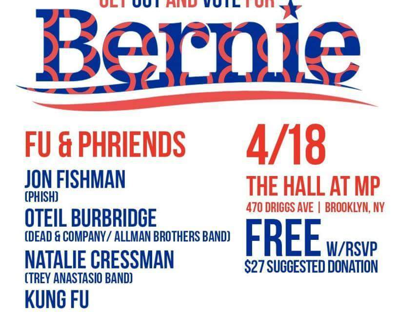 Watch Live Now:Voter Awareness Concert Supporting Bernie Sanders: KUNG FU + JON FISHMAN (Phish) + Phriends!