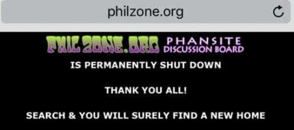 The Phil Zone website has permanently shut down.... Fare Thee Well my friends...