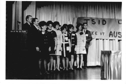 President of TSID, Jim Scoggins and board members in 1968, Jonnie Duncan, Lil Browning, (unknown), Shirley Pacetti, (unknown), Fran Herrington and (unknown.)