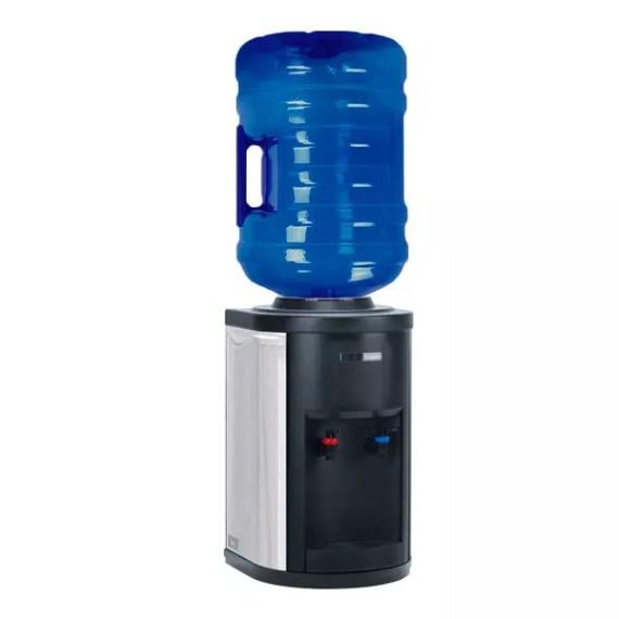 Vista completa del dispensador de agua con botella INOX de sobremesa
