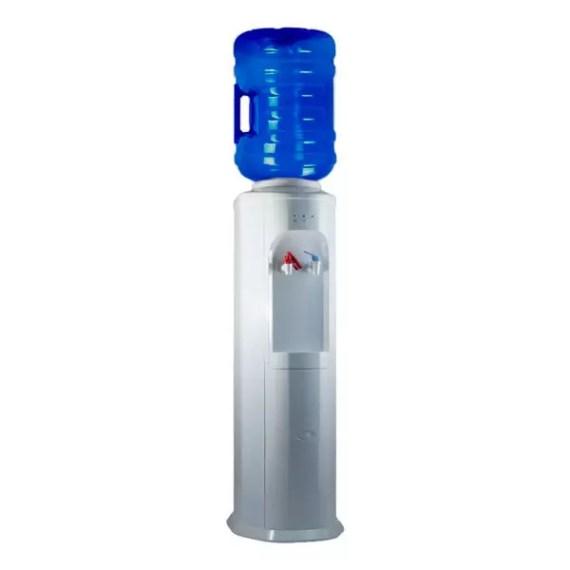 Vista en 3/4 del dispensador de agua Elegance con botella rellenable