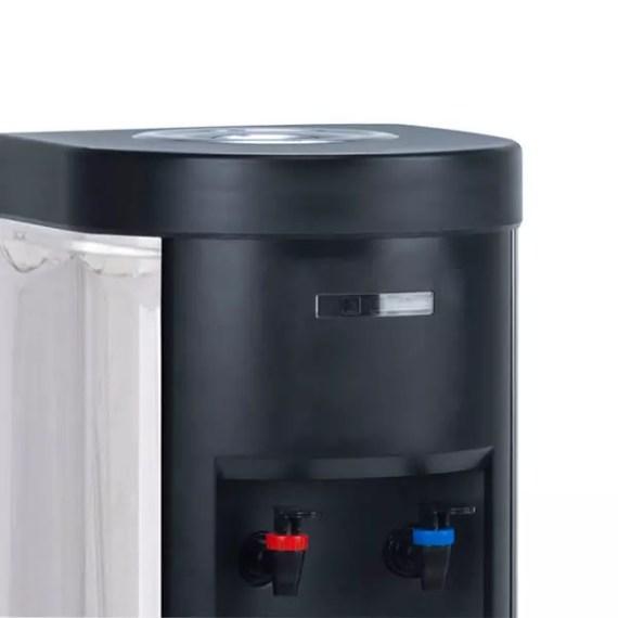 Plano detalle de lo surtidores de agua fría y caliente de la fuente de agua sin botella INOX F3 de sobremesa