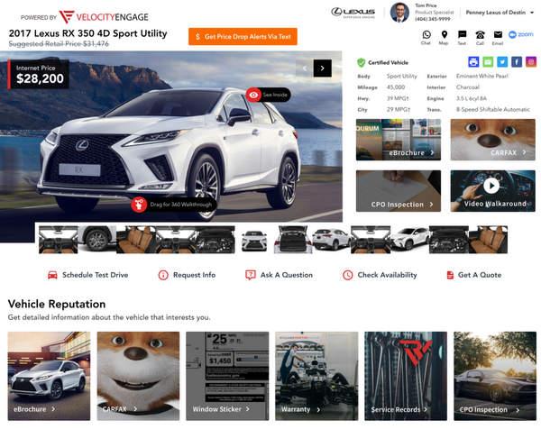 Conception de la page d'une voiture d'occasion sur le site d'un concessionnaire