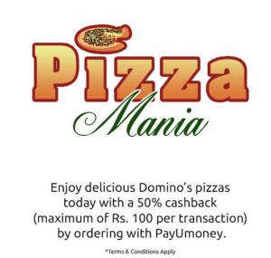 dominos pizza payumoney 50% cashback