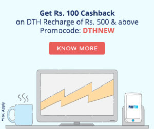Paytm DTH recharge Rs 100 cb on Rs 500