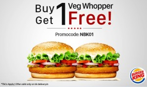 Burger King- Buy 1 Veg/Chicken Whopper & Get another absolutely FREE + Extra 5% cashback
