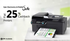 Paytm Epic Electronics Sale – Buy Printers at flat 25% cashback