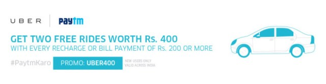 Paytm Loot - Get Two free Uber Rides worth Rs 400 on Recharges and Bill Payments Of Rs 200 and Above