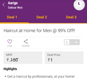 aarigo hair cut for men at Re 1