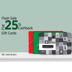 Paytm Flash Sale- Buy Gift Cards & Experiences at flat 25% cashback