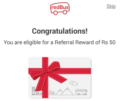 redbus Rs 50 referral reward on sign up
