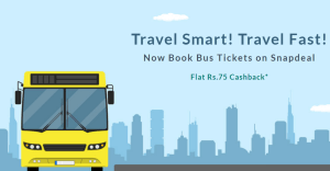 snapdeal flat Rs 75 cashback on bus tickets booking
