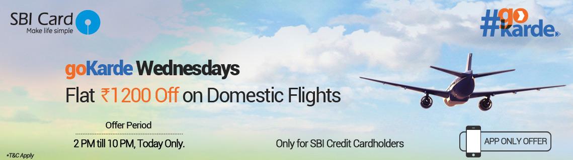 Goibibo Gokarde Wednesday- Get flat Rs 1200 cashback on booking Flights via SBI Cards